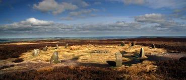 Twelve apostles stone circle - panoramic view. Twelve apostles stone circle on Ilkley Moor, West Yorkshire - panoramic view Royalty Free Stock Image