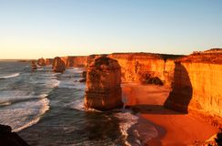Twelve Apostles at Sunset. The magnificent Twelve Apostles, Victoria, Australia, at sunset on a clear summer day royalty free stock image