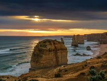 Twelve Apostles sunset. On Great Ocean Road, Victoria, Australia royalty free stock photos