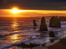 Twelve Apostles sunset. On Great Ocean Road, Victoria, Australia stock photos