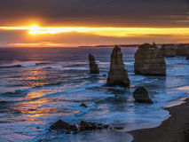 Twelve Apostles sunset. On Great Ocean Road, Victoria, Australia stock photography