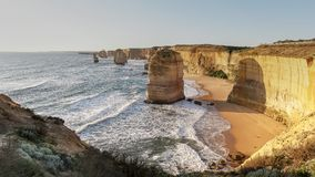 Twelve apostles at sunset in port campbell  national park, victoria. Twelve apostles at sunset in port campbell on the great ocean road in victoria, australia royalty free stock photo