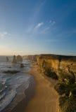 Twelve apostles at sunset (portrait). Twelve apostles in Victoria, Australia Stock Photography