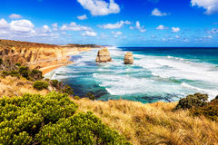 Twelve Apostles in turquoise sea along Great Ocean Road in Australia stock images