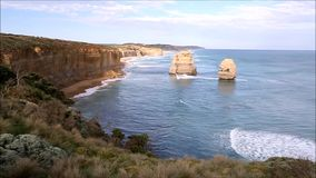 Twelve Apostles. View from the Twelve Apostles lookout facing east in Victoria, Australia stock footage