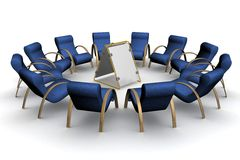 Twelve armchairs around of a poster. Stock Photography