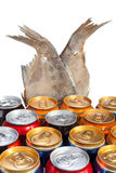 Twelve beer aluminum cans Royalty Free Stock Photography