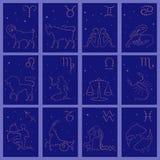 Twelve black silhouettes of Zodiac signs vector illustration