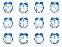 Twelve blue alarm clock's Royalty Free Stock Image