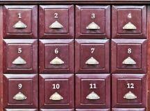 Twelve brown wood drawer Stock Image