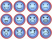 Twelve buttons with faces. Twelve plastic red-blue buttons with faces in different mimics Royalty Free Stock Photography