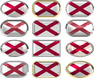 Twelve buttons of the Flag of alabama Royalty Free Stock Photo