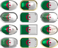 Twelve buttons of the Flag of algeria Stock Images