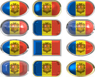 Twelve buttons of the Flag of andorra Royalty Free Stock Photos