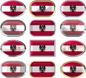 Twelve buttons of the Flag of Austria Royalty Free Stock Photo