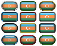 Twelve buttons of the Flag of aZerbaijan Stock Photos