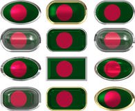 Twelve buttons of the Flag of Bangladesh Stock Photography
