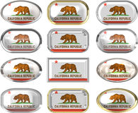 Twelve buttons of the Flag of California Royalty Free Stock Images
