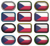 Twelve buttons of the  Flag of Czech Repulic Royalty Free Stock Photos