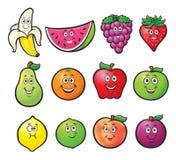 Twelve Cartoon Fruit Characters. Cartoon illustration of twelve cute fruit characters. it includes a banana, watermelon, grapes, strawberry, pear, orange, apples Stock Images