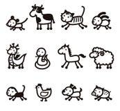 Twelve Chinese Zodiac Animals icon Stock Photography