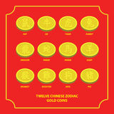 Twelve chinese zodiac gold coins. Can use of banner, brochure, flyer, greeting card Stock Illustration