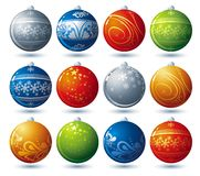 Twelve  christmas ball, vector. Twelve  christmas ball over white background, vector Stock Photography