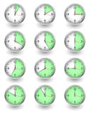 Twelve clocks showing different time on white Royalty Free Stock Image