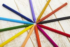 Twelve color pastel crayon  in box close up with woody texture backgrou Royalty Free Stock Photography