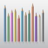 Twelve colored pencils Stock Image