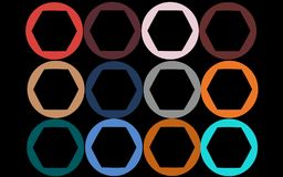 Twelve colorful, bright, motley circles with hexahedrons. Inside painted in the most fashionable colors of 2018 on a black background. Vector illustration Stock Image