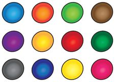 Twelve colorful buttons Royalty Free Stock Photo