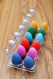 Twelve colorful chocolate easter eggs Royalty Free Stock Photography