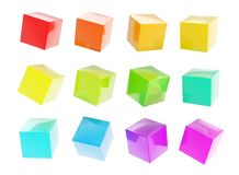 Twelve colorful glossy cubes isolated Royalty Free Stock Image
