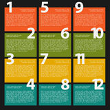 12 Twelve colorful text box with steps for infographics Royalty Free Stock Photography
