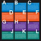 Twelve colorfull text box with steps for infographics. Stock Photography