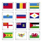 Twelve Countries Flags on Metal Texture Plates Royalty Free Stock Images