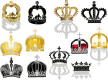 Twelve crowns isolated on white background Stock Photography