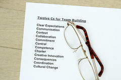 Twelve Cs for teambuilding Royalty Free Stock Images