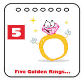 Twelve days of christmas calendar 5. Diamond ring on a christmas calendar with text and number five Stock Photo