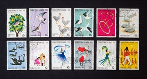 Twelve days of Christmas on postage stamps Stock Images