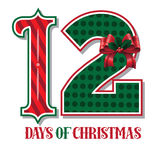 The Twelve days of Christmas typographic illustration Royalty Free Stock Images