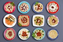 Twelve delicious pasta dishes Stock Photos