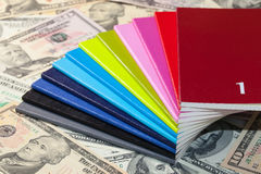 Twelve diaries and U.S. dollars Stock Image