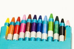 Colour crayons on a white background. Twelve different Colour crayons on a white background Stock Image