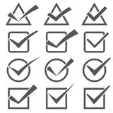 Twelve different grey check marks. Confirm icons set Stock Image