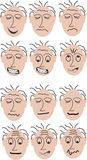 Twelve different mimics. Twelve faces with different mimics. This file is also available as Illustrator-File Royalty Free Stock Photos