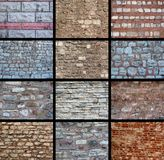 A variety of wall textures. Twelve different wall texture backgrounds Stock Photography
