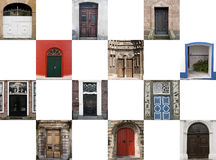Twelve doors in different styles. Collage of twelve different old doors in different styles against a blue sky background Stock Images