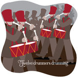 Twelve drummers drumming Twelve days of Christmas. Twelve drummers drumming Stock Photos